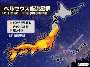 ペルセウス座流星群2020埼玉